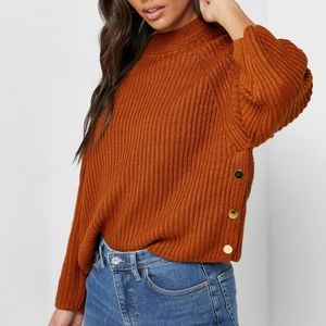 NWT Topshop Brown Knitted Chunky Jumper Sweater
